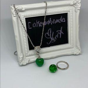 Green apple CZ/JADE stone 🍏 necklace